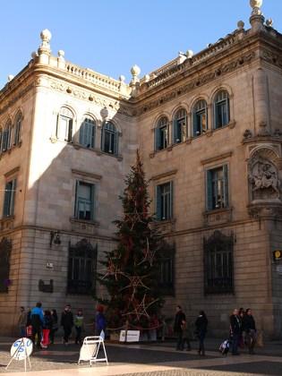 Christmas tree on Placa Jaume, Barcelona, Spain