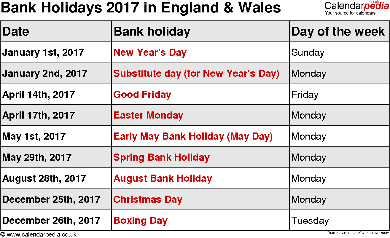 2017 the country holidays MondayMon         May 01, 2017May