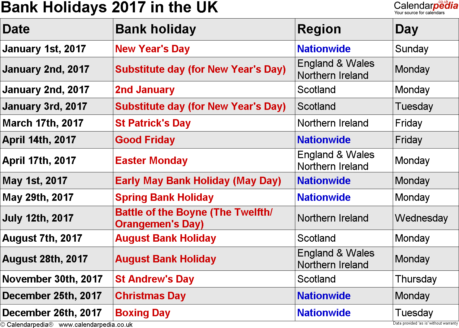 2017 the country holidays Jan 01