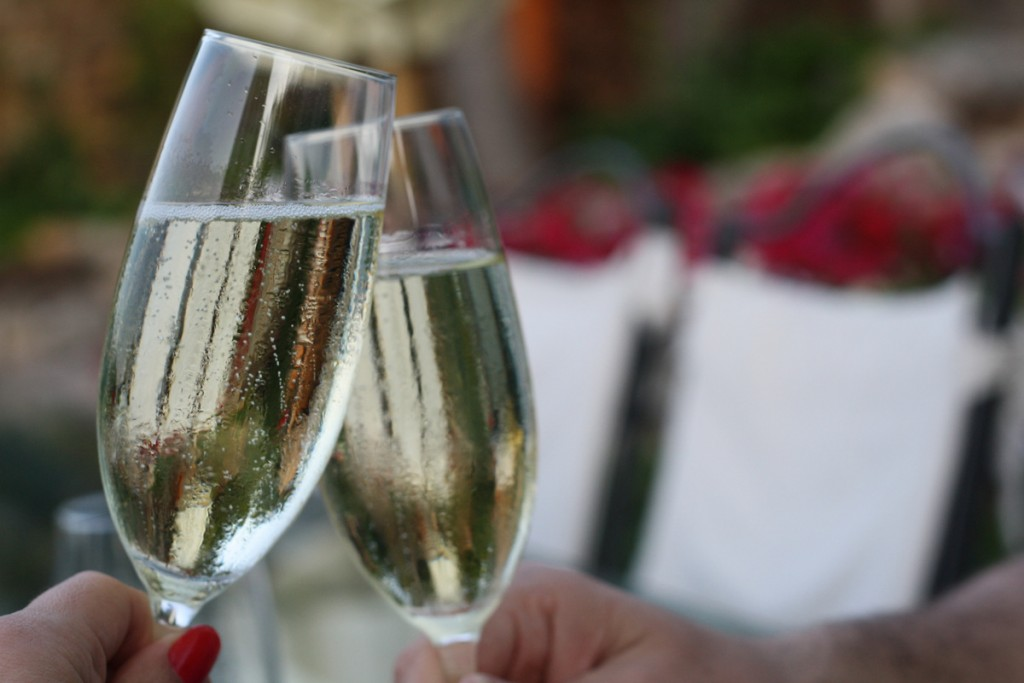 New Years in Spain is full of traditions. One is to drop something gold into a glass of cava!