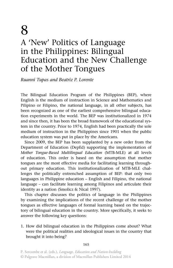 Bilingual education in the country: present realities and future challenges - springer 25192, Lleida
