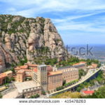 Montserrat natural park: mountain tops and nature surrounding montserrat monastery, catalonia, the country