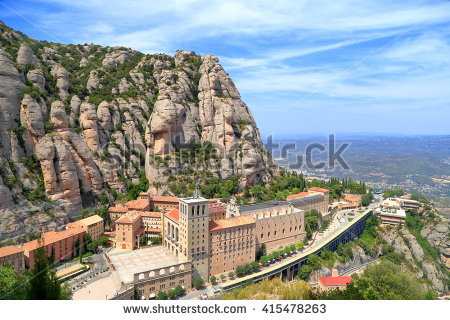 Montserrat natural park: mountain tops and nature surrounding montserrat monastery, catalonia, the country information on