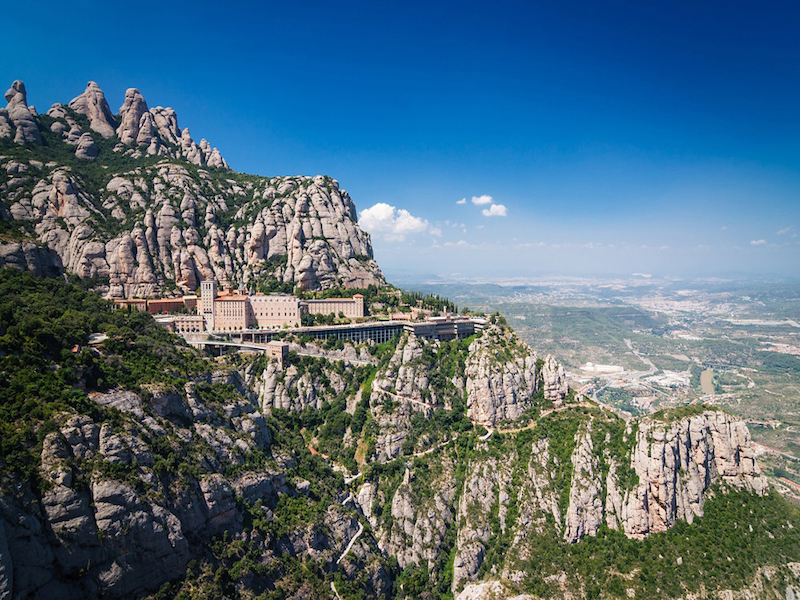 Montserrat natural park: mountain tops and nature surrounding montserrat monastery, catalonia, the country best oak forests in